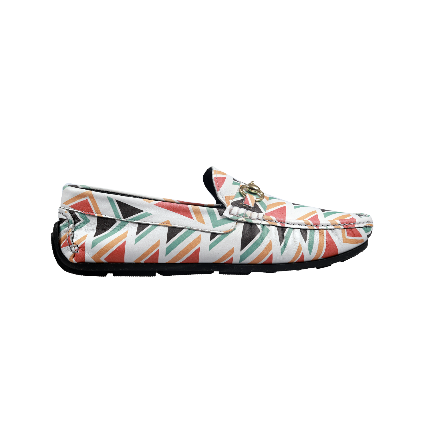 Muet Multi Colour Leather White Artsy Casual Leather Loafers for Men