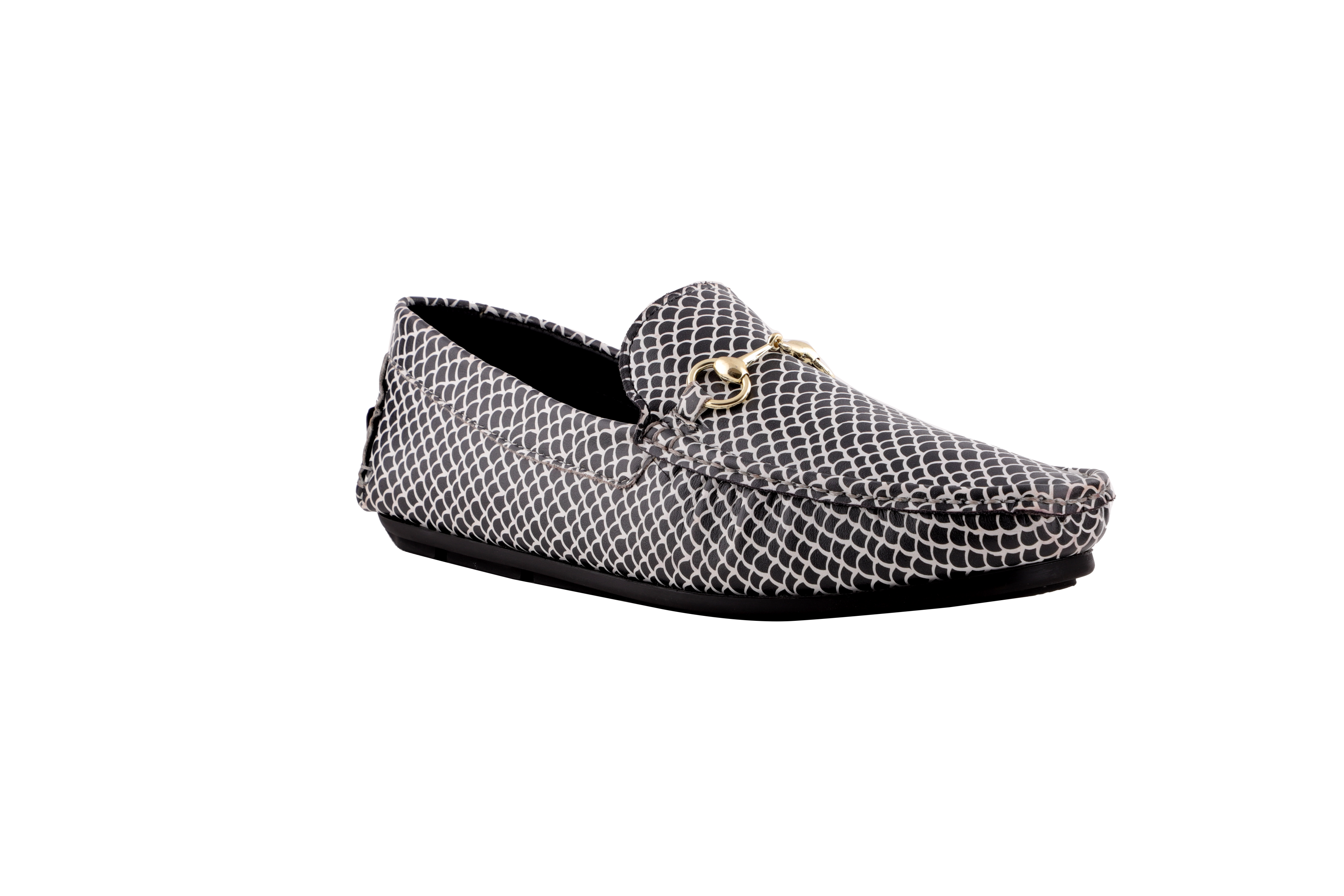 Muet A Fishy Affair- White Shoes for Men (Crocodile Pattern)