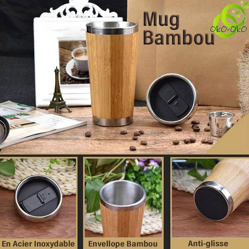 Thermos <br>Mug Isotherme Bamboo (intérieur Inox).
