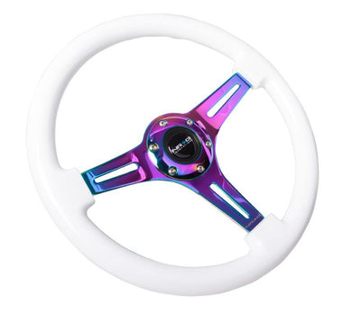 NRG Classic White Wood Steering Wheel