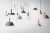 Socket pendant hanglamp laag - dusty blue