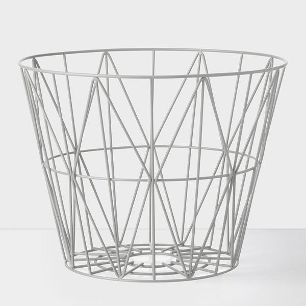 Wire basket mand large - grijs