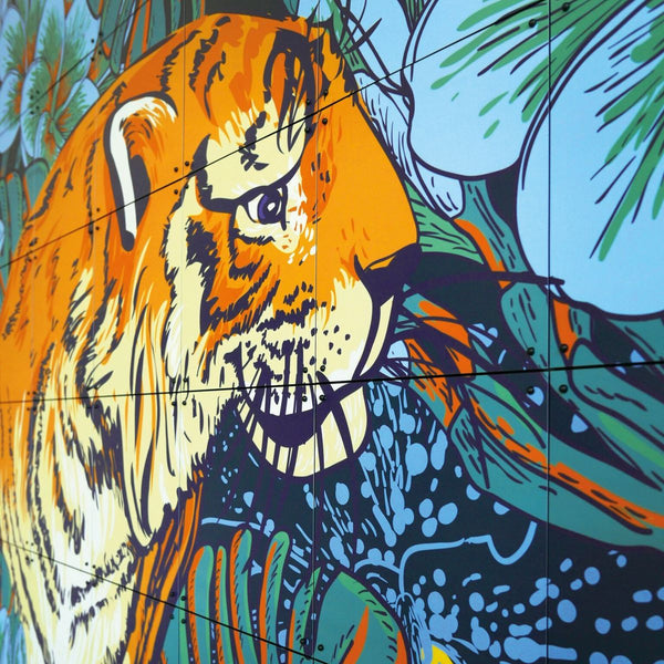 Tiger Jungle & Toucan Family wanddecoratie 80 x 100 cm