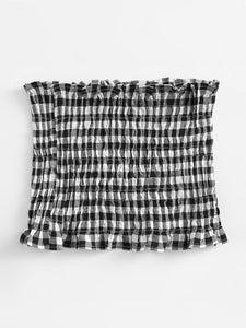 Gingham Shirring Bandeau Top