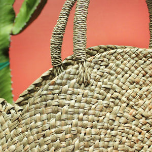 Hand-Made Round Straw Tote Bag with Pumpkin Orange Tassels