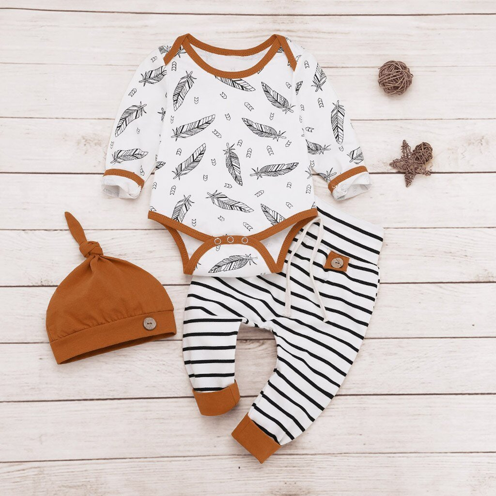 Newborn Baby clothes Boys Girls Feather longsleeve