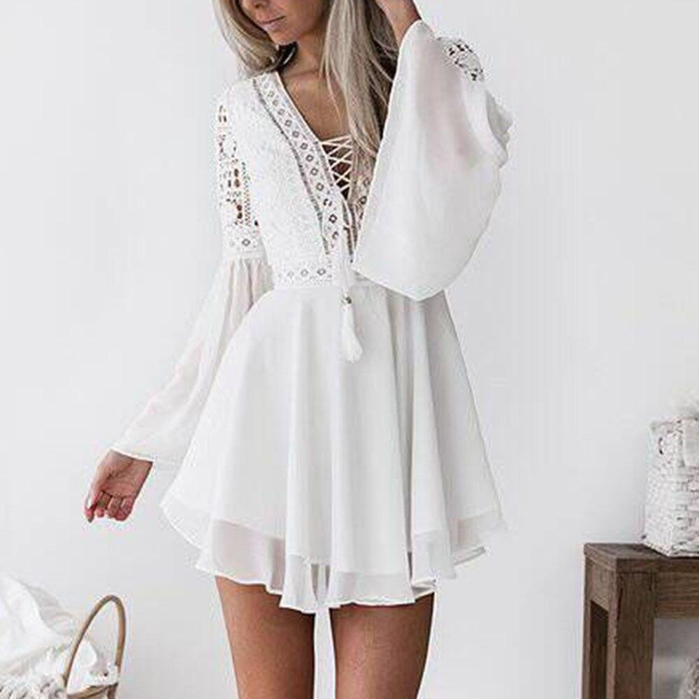 Lace Sashes Cross Solid Long Sleeve
