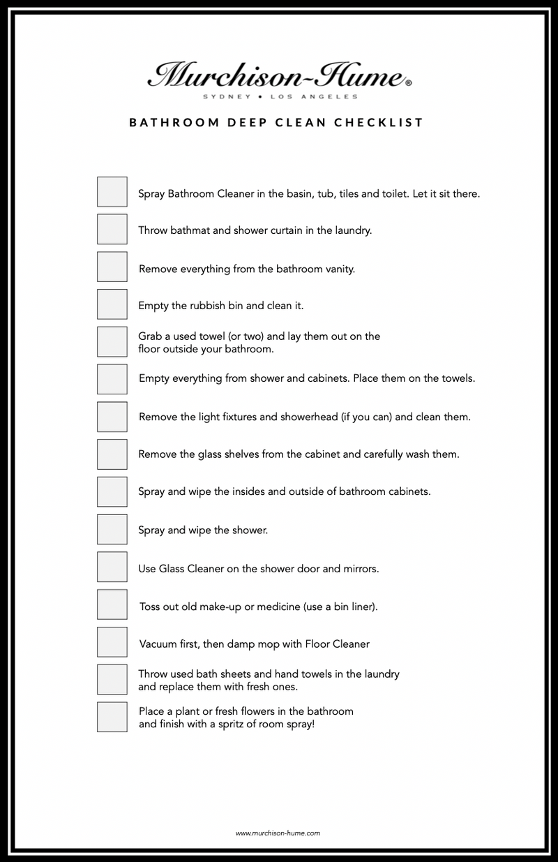 Bathroom Deep Clean Checklist