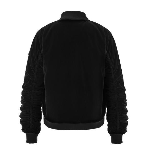VELOUR BOMBER JACKET - BLACK