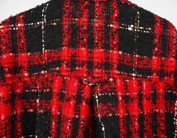 PLAID FLANNEL COAT - RED