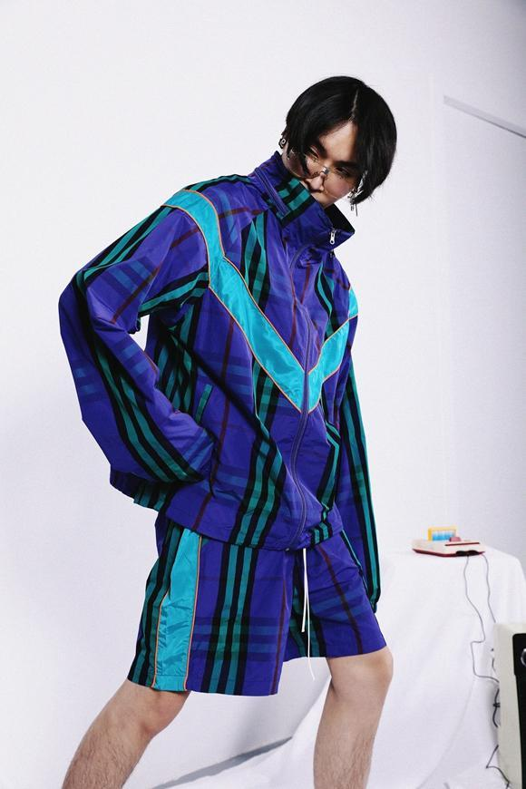 PLAID WINDBREAKER JACKET - PURPLE