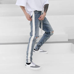 RETRO DISTRESSED DENIM with white stripes on the side