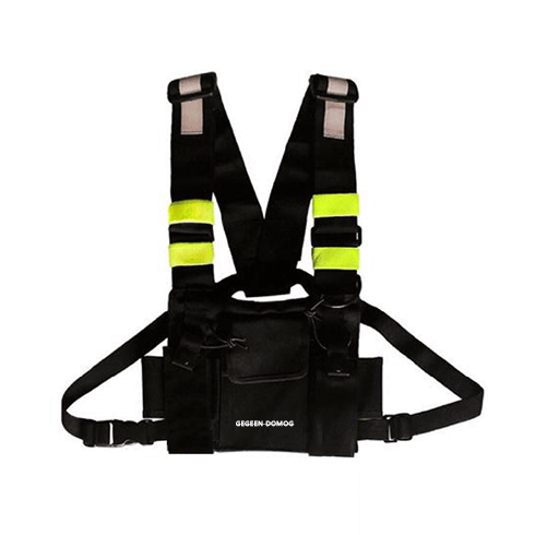 CHEST BAG - BLACK/FLOURESCENT STRIP