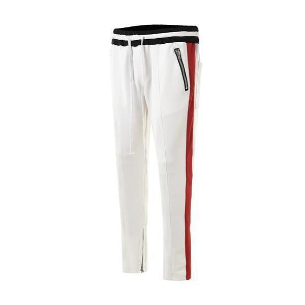 RETRO PANTS - WHITE / RED track pants drawstring STREETFASHION