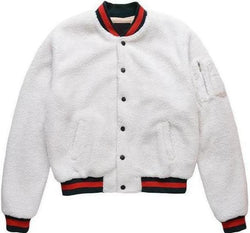 SHERPA BASEBALL JACKET - WHITE