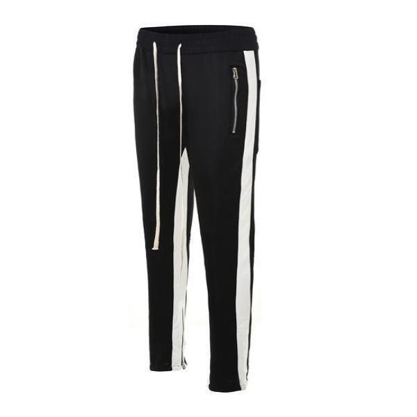 RETRO PANTS V2 - BLACK with WHITE side stripes