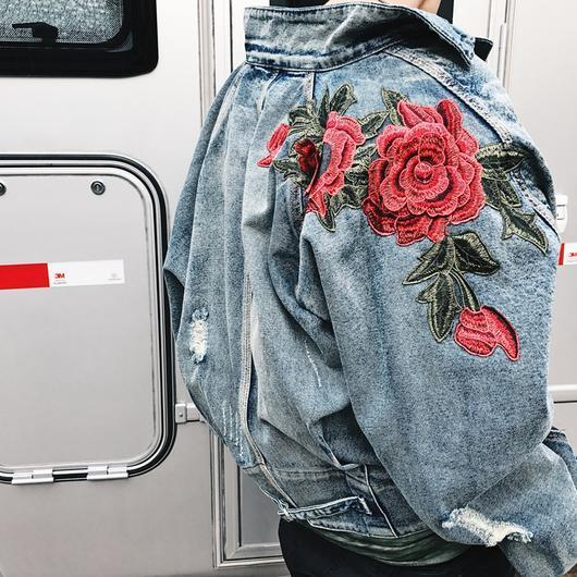 ROSE EMBROIDERY DENIM