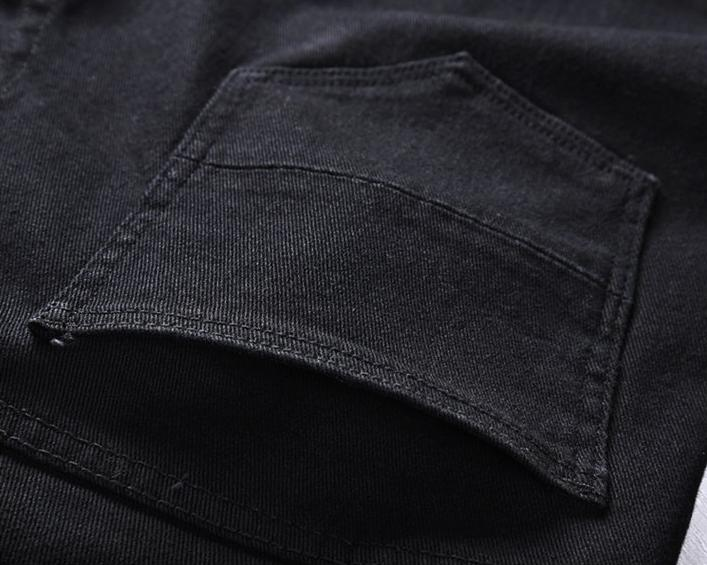 BANDANA DENIM JEANS - BLACK