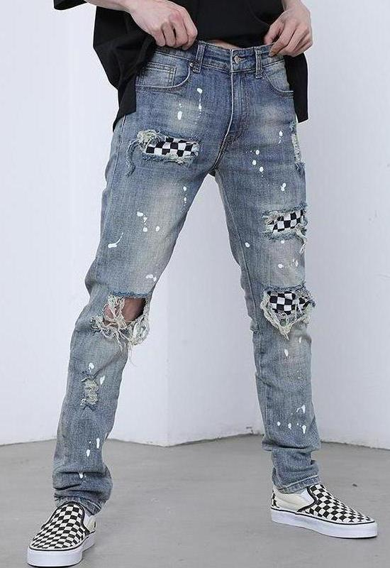 CHECKERED SPLASH DENIM