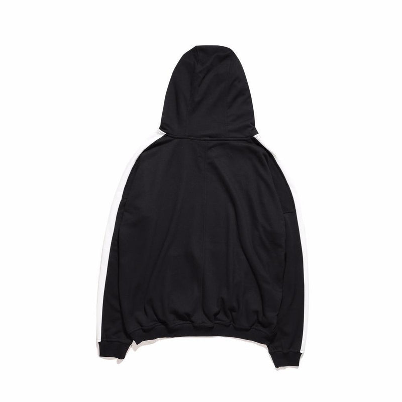 TRACK RETRO HOODIE - BLACK / WHITE BACK