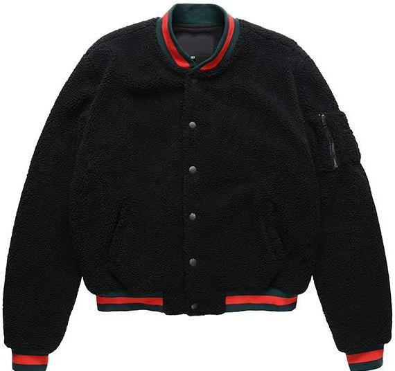 SHERPA BASEBALL JACKET - BLACK