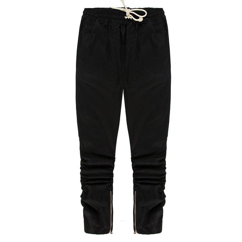 PIN TUCK INNER ZIPPED PANTS - BLACK FRONT STREETFASHION