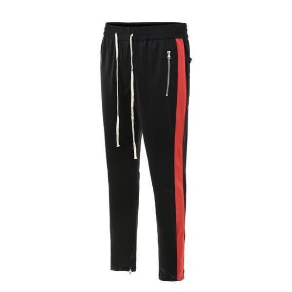 RETRO PANTS V2 - BLACK with RED side stripes