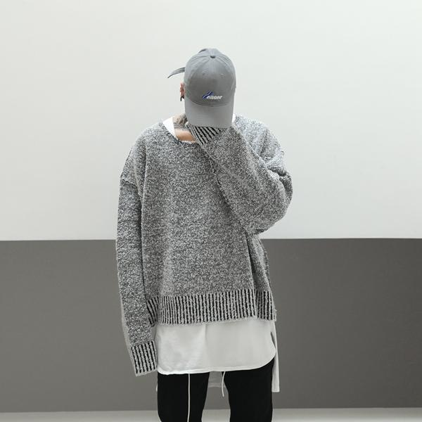 GREY O NECK SWEATER