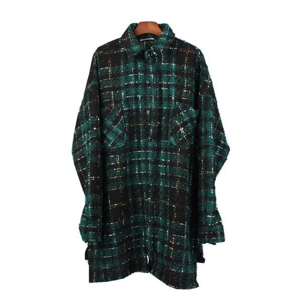 PLAID FLANNEL COAT - GREEN