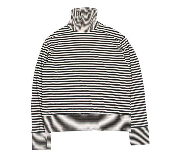 STRIPED ROLL-NECK SWEATER