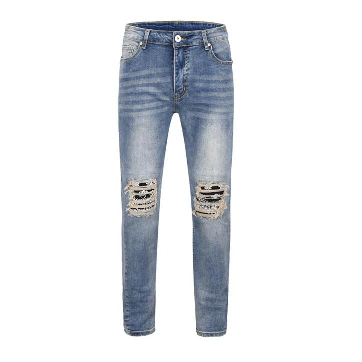 BANDANA DENIM JEANS - BLUE