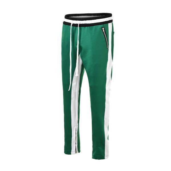 RETRO PANTS V2 - GREEN with WHITE side stripes