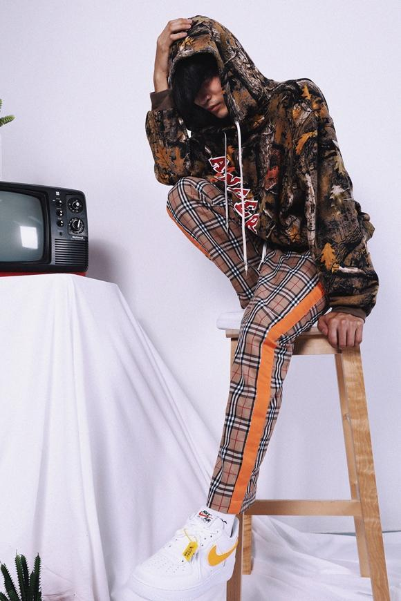 PLAID STRIPE PANTS - KHAKI / ORANGE