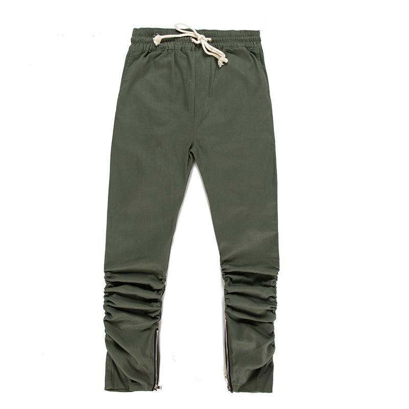 PIN TUCK INNER ZIPPED PANTS - GREEN FRONT STREETFASHION