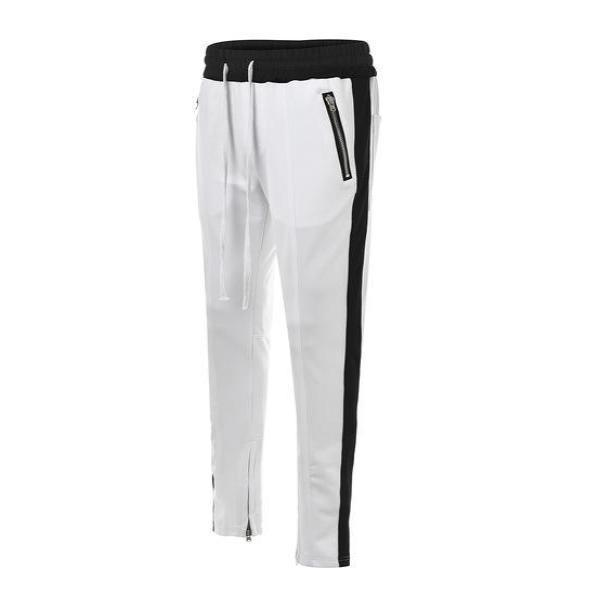 RETRO PANTS - WHITE with black stripes