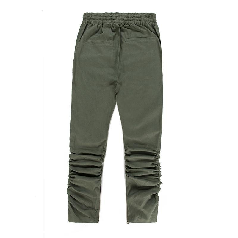 PIN TUCK INNER ZIPPED PANTS - GREEN BACK