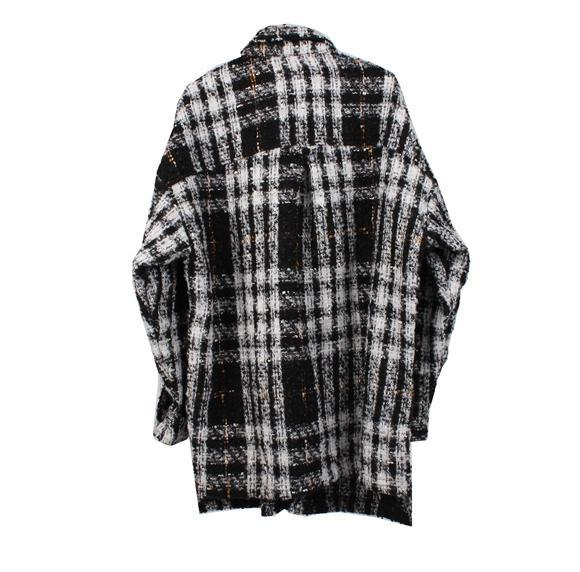 PLAID FLANNEL COAT - WHITE