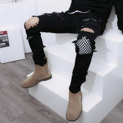CHESSBOARD RIPPED DENIM