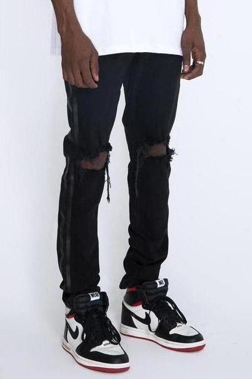 RETRO DISTRESSED DENIM V2 - BLACK / BLACK