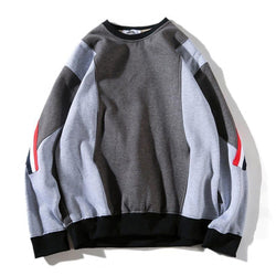 PATCHWORK FLEECE SWEATER - GREY
