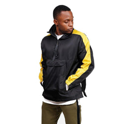 RETRO SPORTS JACKET - BLACK with YELLOW side stripes