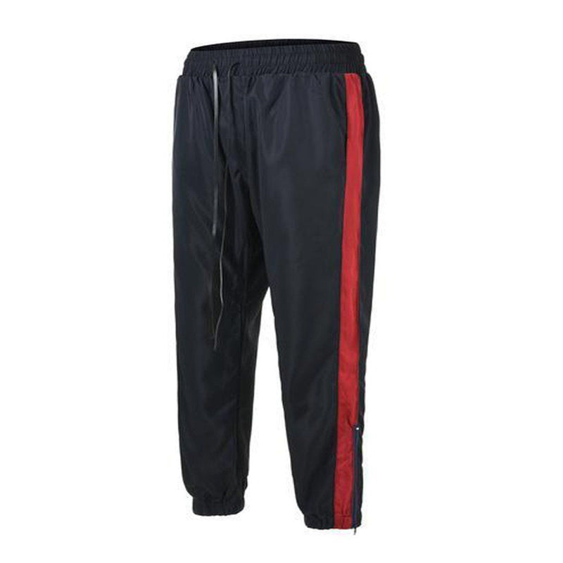 RETRO SPORTS PANTS - NAVY with RED side stripes