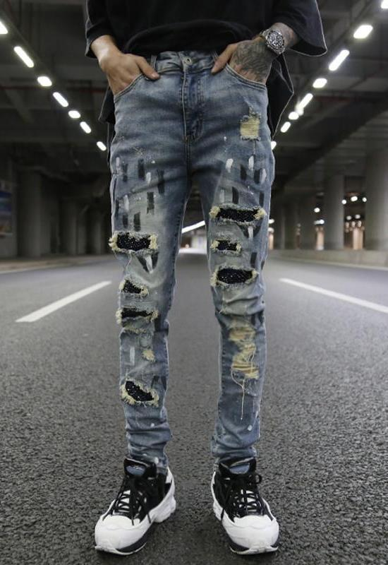CRYSTAL DESTROYED DENIM