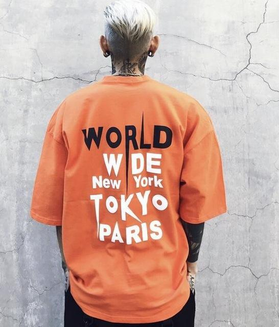 """WORLD WIDE"" T-SHIRT - ORANGE STREETFASHION"