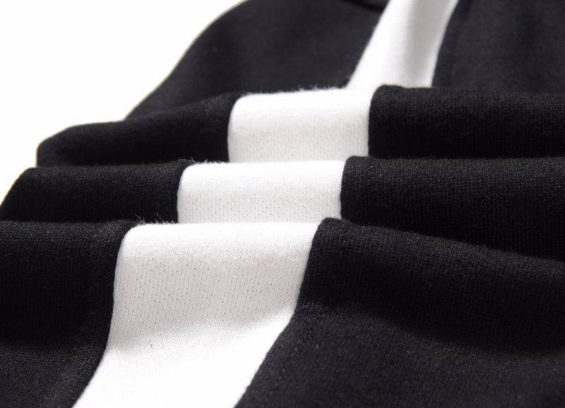 TRACK RETRO HOODIE - BLACK / WHITE DETAIL
