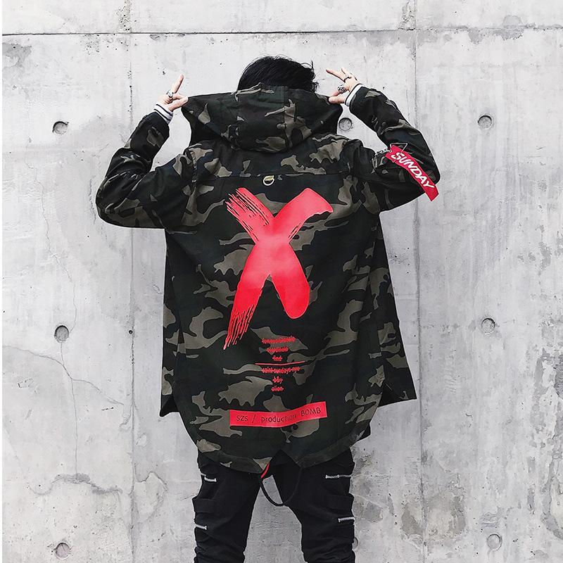 X CAMOUFLAGE COAT WINDBREAKER - RED