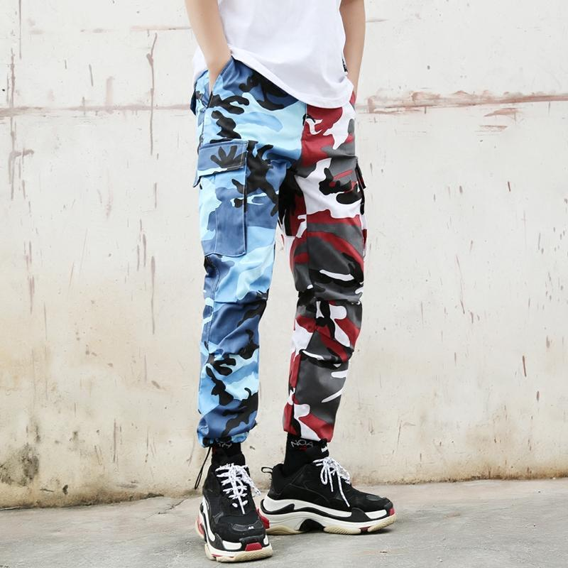 SPLIT CAMO PANTS - BLUE / RED