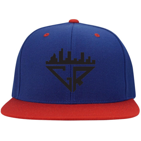 Image of City Racks Flat Bill High-Profile Snapback Hat - Black