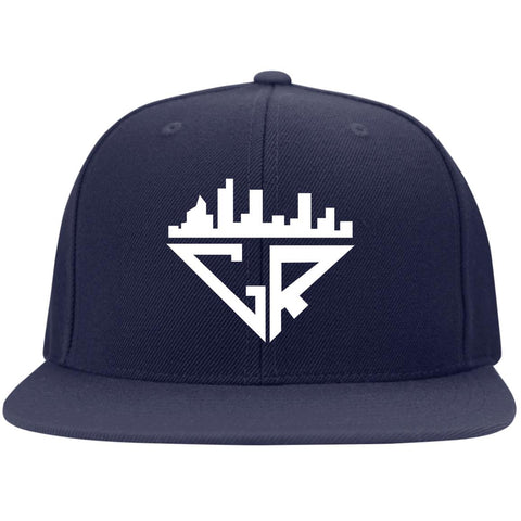 Image of City Racks Flat Bill High-Profile Snapback Hat - White