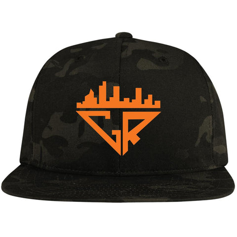 Image of City Racks Flat Bill High-Profile Snapback Hat - Orange
